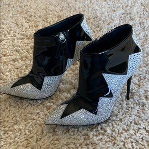 Giuseppe Zanotti Crystal Leather Booties